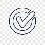 Confermi l'icona lineare di vettore di concetto isolata su backg trasparente illustrazione di stock