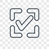 Confermi l'icona lineare di vettore di concetto isolata su backg trasparente illustrazione vettoriale