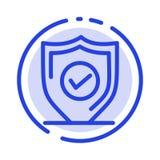 Confermi, la protezione, la sicurezza, la linea punteggiata blu sicura la linea icona illustrazione di stock