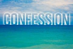 Confesión del texto de la escritura de la palabra Concepto del negocio para el agua azul de la playa de la aserción de la elocuci Foto de archivo libre de regalías