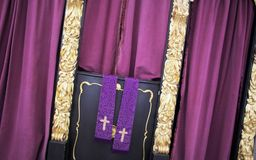 Confession booth. Closeup of ornate confession booth Royalty Free Stock Photography
