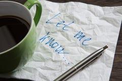 Confession d'amour sur la serviette Photographie stock libre de droits