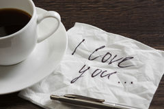 Confession d'amour sur la serviette Image stock