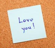 Confession d'amour sur un papier de note Image libre de droits