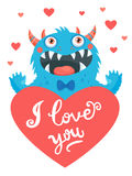 Confession of Love. A lover`s wish. Be mine only. Cute Cartoon Monster In Love  Royalty Free Stock Photos