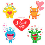 Confession Of Love. A Lover`s Wish. Be Mine Only. Vector Set With Cute Love Monsters. Vector Card For Saint Valentine`s Day. Royalty Free Stock Images