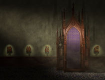 Confessional. A confessional both where a penitent will receive absolution of their sins from a priest stock illustration