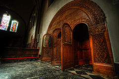 Confessional booths. In an abandoned Church in Holland; St. Anna Royalty Free Stock Photography
