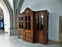 Confessional in the church. Royalty Free Stock Photography