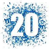 Confetes azuis e dígito branco grande 20 Fotos de Stock