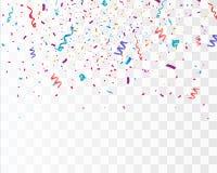 Confetes brilhantes coloridos isolados no fundo transparente ilustração festiva do vetor Fotos de Stock