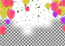 Confetes coloridos com fitas e balões no branco Eps 10 ilustração stock
