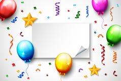 Confetes coloridos com o balão no fundo branco Imagens de Stock Royalty Free