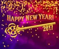 Confetes 2017 da chave do vintage do ouro do ano novo feliz ilustração stock