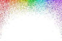 Confetes de queda do arco-íris no fundo branco, forma do arco Vetor ilustração do vetor