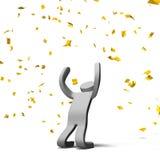 Confetes de Victory Pose Person With Gold Fotografia de Stock