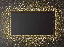 Confetes do brilho do ouro no fundo preto Imagens de Stock Royalty Free