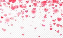 Confetes do coração que caem no fundo transparente Molde do cartão do dia de Valentim Ilustração do vetor ilustração royalty free