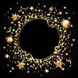 Confetes do ouro em um fundo preto Estrelas de queda, brilho, dus Fotos de Stock Royalty Free