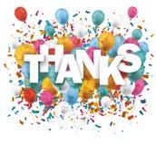 Confetes dos balões dos agradecimentos Fotos de Stock Royalty Free