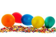 Confetes e balões Fotos de Stock Royalty Free