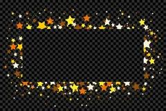 Confetes e estrelas do brilho do ouro no fundo transparente fotografia de stock royalty free