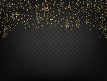 Confetes e fitas no fundo transparente escuro Vetor Imagem de Stock Royalty Free