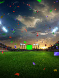 Confetes e ouropel do por do sol do estádio com fãs dos povos 3d tornam a ilustração nebulosa Foto de Stock