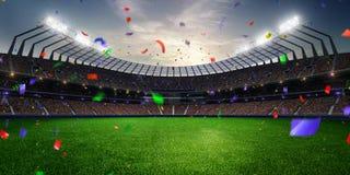 Confetes e ouropel do por do sol do estádio com fãs dos povos 3d tornam a ilustração nebulosa Fotografia de Stock Royalty Free