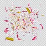 Confeti brillante colorido aislado en fondo transparente Ilustración festiva Fotos de archivo libres de regalías