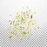 Confeti brillante colorido en fondo transparente Ilustración festiva Imagenes de archivo