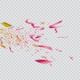 Confeti brillante colorido en fondo transparente Ilustración festiva Foto de archivo libre de regalías