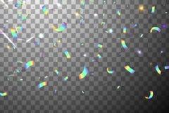 Confeti brillante del arco iris del brillo que cae con resplandor de la sol aislado Fondo iridiscente Hoja olográfica de la malla Imágenes de archivo libres de regalías