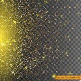 Confeti brillante del brillo del oro que cae aislado en fondo transparente Foto de archivo libre de regalías