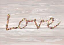 Confeti colorido en el amor de la palabra Alineado de letras Saludo c ilustración del vector