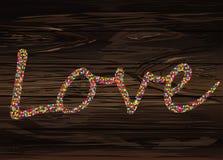 Confeti colorido en el amor de la palabra Alineado de letras Saludo c stock de ilustración