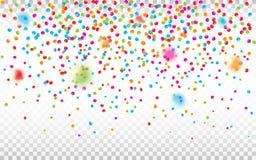 Confeti colorido en fondo transparente Pedazos Defocused del confeti Contexto brillante del día de fiesta Vector ilustración del vector