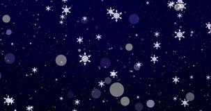 Confeti, copos de nieve y luces de oro del bokeh en el fondo azul de Feliz Navidad metrajes