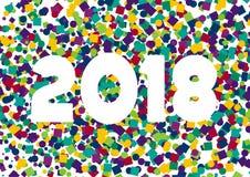 Confeti 2018 de la Feliz Año Nuevo Imagen de archivo libre de regalías