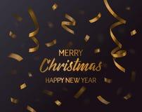 Confeti 2017 de la Feliz Navidad, de Navidad y del Año Nuevo Papel del remolino que cae y cinta curvy, regalo ondulado o actual e stock de ilustración