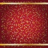 Confeti de las estrellas tres colores en un rojo con las rayas de la ilustración y del oro Imagen del vector libre illustration