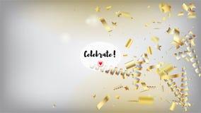 Confeti de lujo moderno, estrellas aisladas, Tinsel Falling La Navidad superior fresca, Año Nuevo, marco horizontal del día de fi stock de ilustración