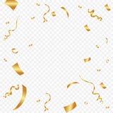 Confeti de oro aislado en fondo a cuadros ejemplo festivo del vector Imágenes de archivo libres de regalías
