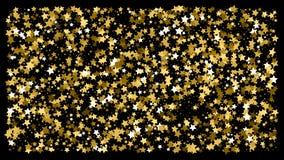 Confeti de oro de la estrella del brillo en un fondo negro ilustración del vector