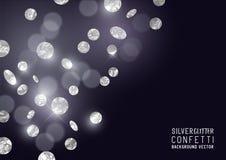 Confeti de plata del brillo Imagen de archivo