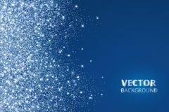 Confeti del brillo, nieve que cae del lado Polvo del vector, explosión en fondo azul Frontera chispeante, marco libre illustration