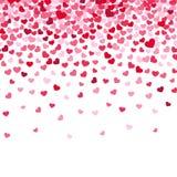 Confeti del corazón del vuelo, fondo del vector del día de tarjetas del día de San Valentín stock de ilustración