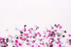 Confeti del corazón horizontal Foto de archivo