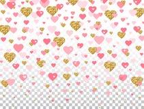 Confeti del rosa y del corazón del brillo del oro en fondo transparente Corazón que cae brillante con los elementos románticos de ilustración del vector