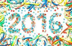 Confeti del texto del carnaval 2016 Imagen de archivo libre de regalías